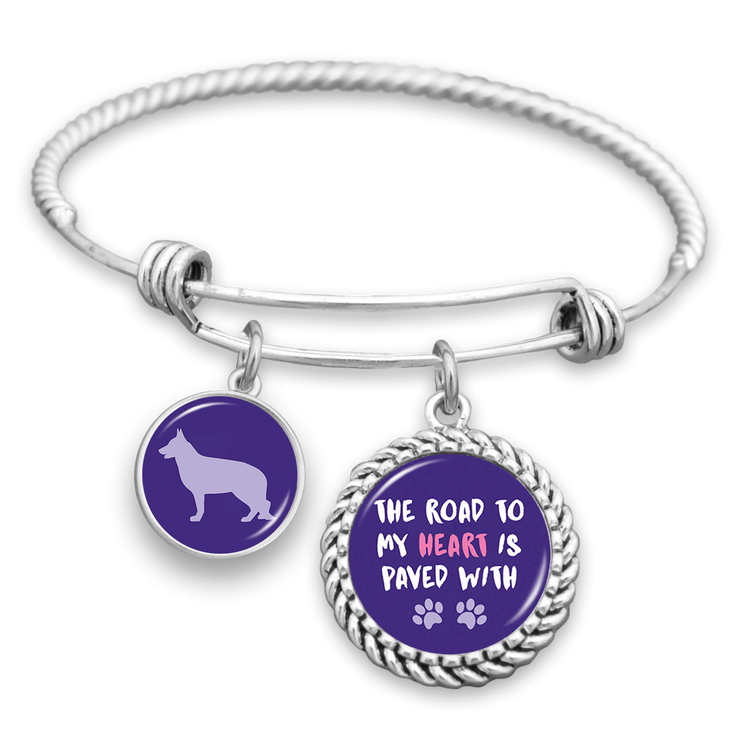 German Shepherd The Road To My Heart Is Paved With Paws Charm Bracelet