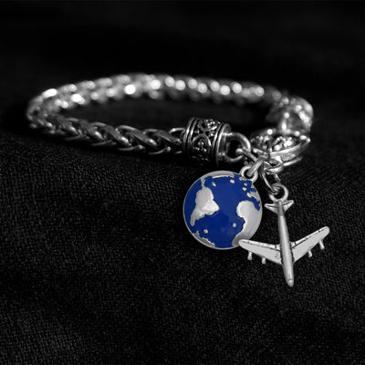 Airplane and Globe Silver Braided Clasp Charm Bracelet