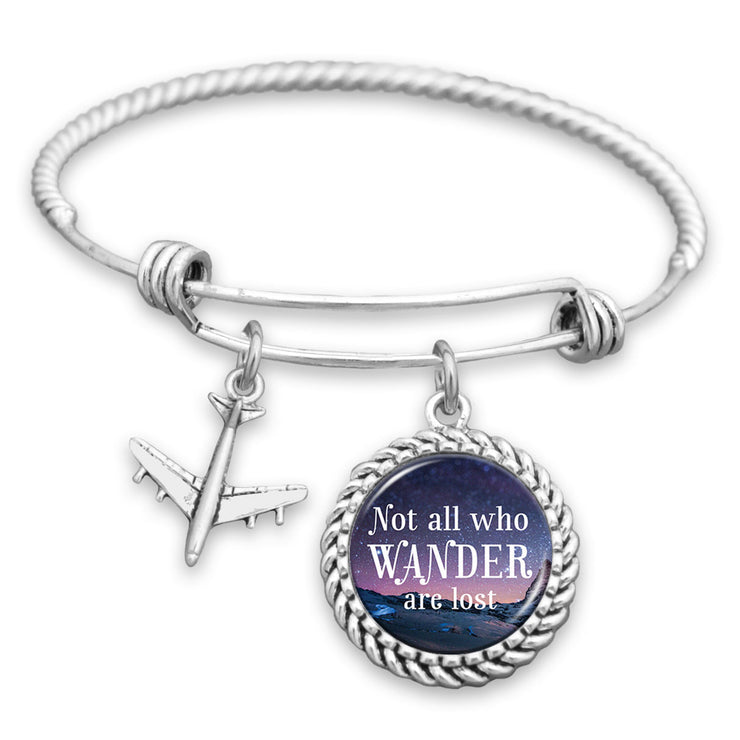 Starry Sky Not All Who Wander Are Lost Airplane Charm Bracelet