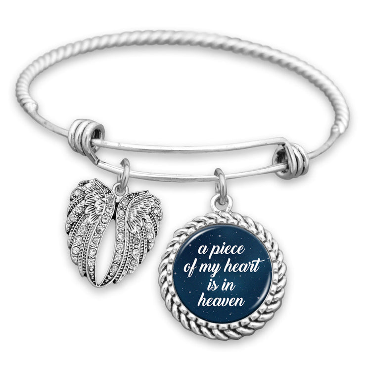 Piece Of My Heart Night Sky Angel Wings Charm Bracelet