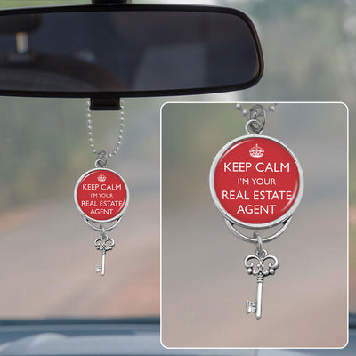 Keep Calm I'm Your Real Estate Agent Rearview Mirror Charm