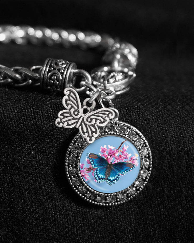 Blue Butterfly Silver Braided Clasp Charm Bracelet
