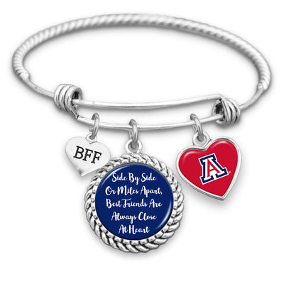 Arizona Wildcats Side By Side Or Miles Apart BFF Charm Bracelet