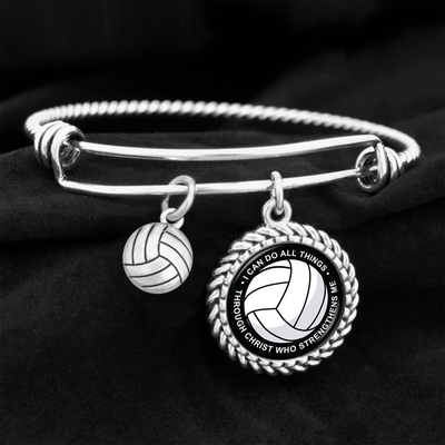 I Can Do All Things Through Christ Volleyball Charm Bracelet