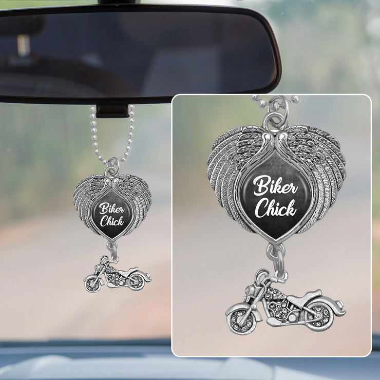 Biker Chick Wings Rearview Mirror Charm