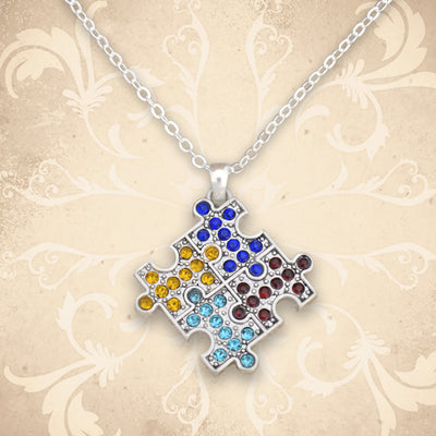 Crystal Autism Puzzle Pieces Necklace