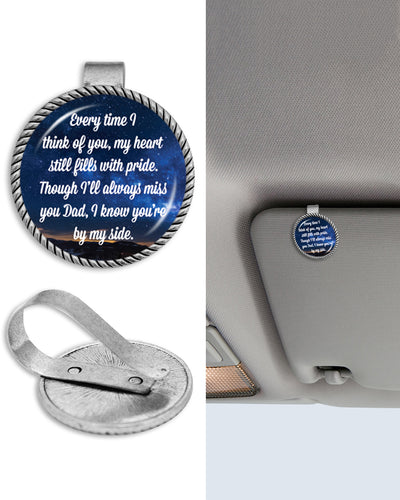 Dad Every Time I Think Of You Circle Auto Visor Clip
