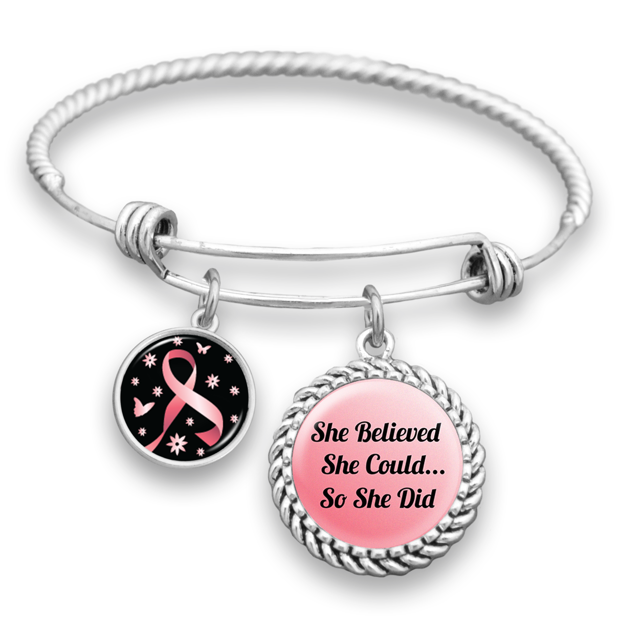 She Believed She Could So She Did Pink Ribbon Charm Bracelet