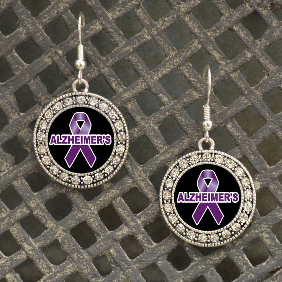 Alzheimer's Awareness Crystal Circle Earrings