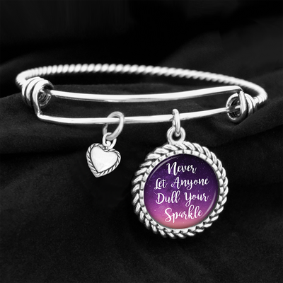 Never Let Anyone Dull Your Sparkle Charm Bracelet