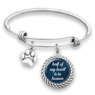 Half Of My Heart Is In Heaven Paw Charm Bracelet