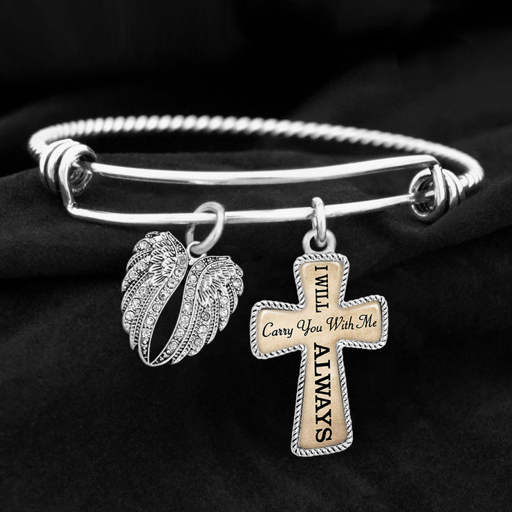 Carry You With Me Always Angel Wings Cross Charm Bracelet