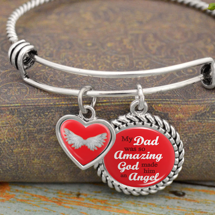 Red My Dad Was So Amazing, God Made Him An Angel Charm Bracelet