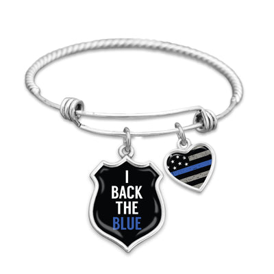 I Back The Blue Thin Blue Line Charm Bracelet