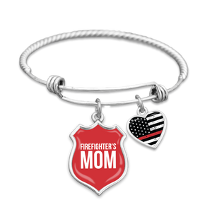 Firefighter's Mom Thin Red Line Charm Bracelet