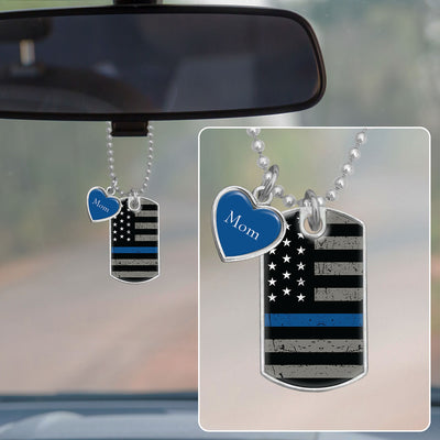 Customizable Thin Blue Line Flag Dog Tag Rearview Mirror Charm