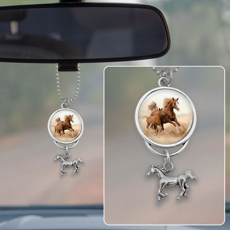 Running Horses Rearview Mirror Charm