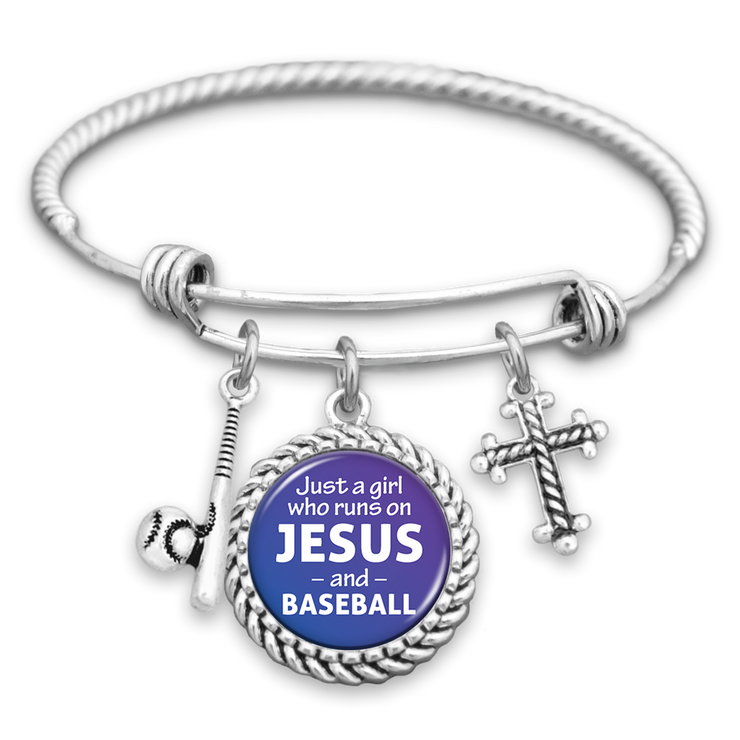 Just A Girl Who Runs On Jesus And Baseball Charm Bracelet