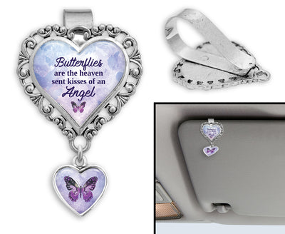 Butterflies Are Heaven Sent Kisses Purple Heart Auto Visor Clip