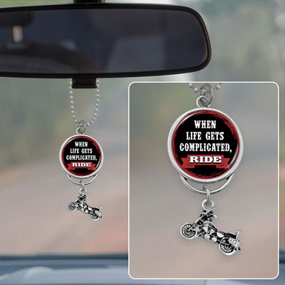 When Life Gets Complicated, Ride Rearview Mirror Charm