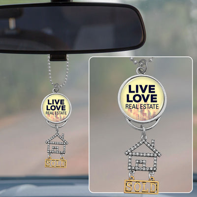 Live Love Real Estate Rearview Mirror Charm
