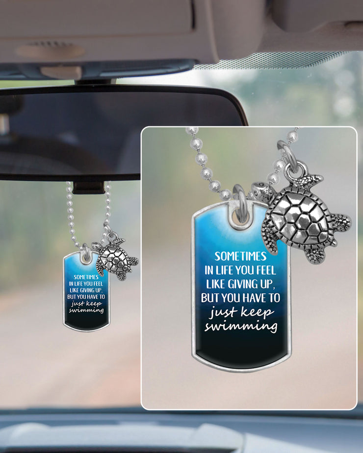 You Have To Just Keep Swimming Dog Tag Rearview Mirror Charm