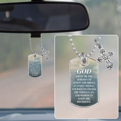 God Grant Me The Serenity Dog Tag Rearview Mirror Charm