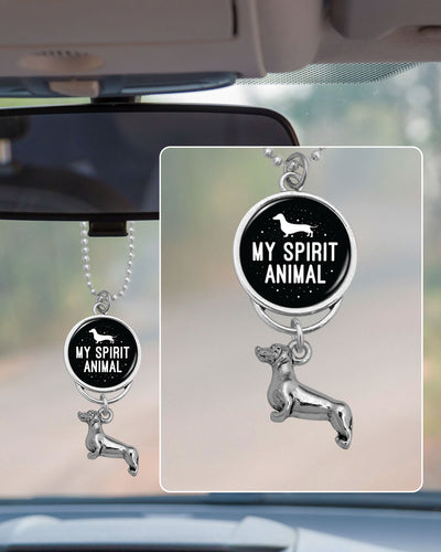 My Spirit Animal Is A Dachshund Rearview Mirror Charm