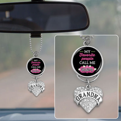 My Favorite People Call Me Grandma Rearview Mirror Charm