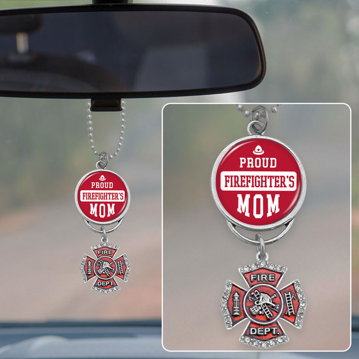 Proud Firefighter's Mom Rearview Mirror Charm