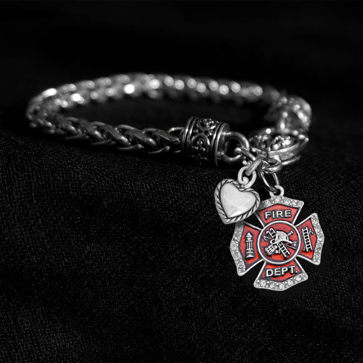 Crystal Firefighter Silver Braided Clasp Charm Bracelet