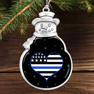 Thin Blue Line Heart Snowman Ornament