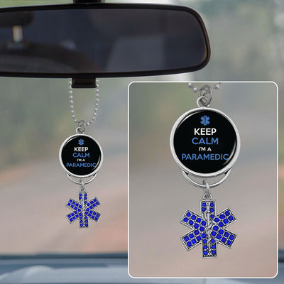 Keep Calm I'm A Paramedic Rearview Mirror Charm