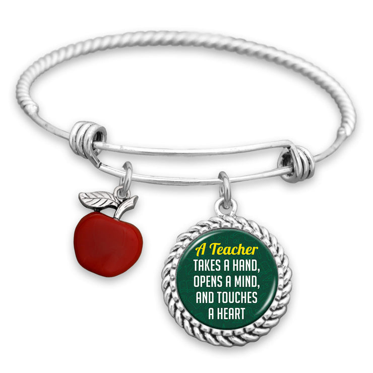 A Teacher Takes A Hand, Opens A Mind, And Touches A Heart Charm Bracelet
