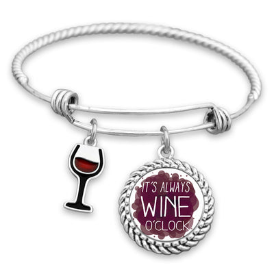 It's Always Wine O'Clock Charm Bracelet