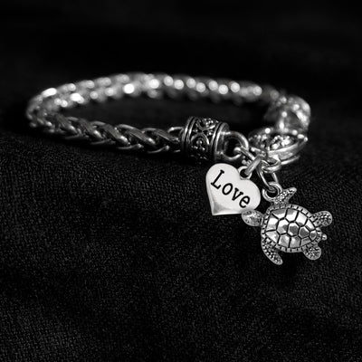 Sea Turtle and Love Heart Silver Braided Clasp Charm Bracelet