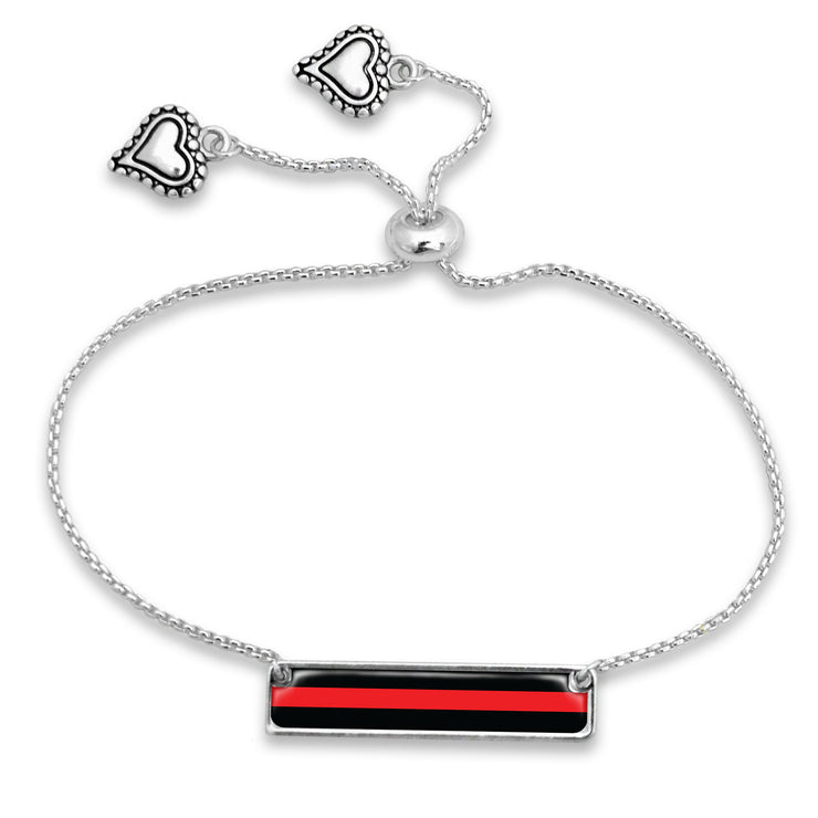 Thin Red Line Firefighter Adjustable Rectangle Bracelet