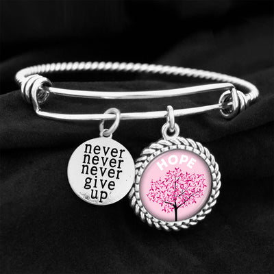 Never Give Up Hope Tree Charm Bracelet
