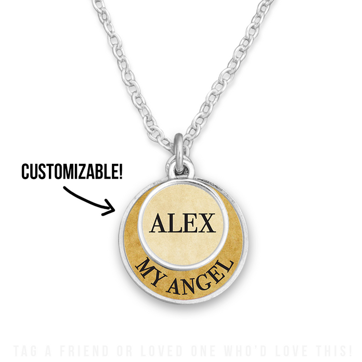 Customizable My Angel Double Circle Necklace