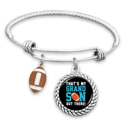 That's My Grandson Out There Football Charm Bracelet