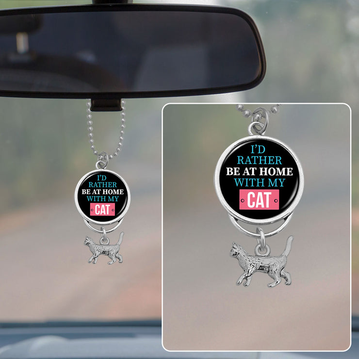 I'd Rather Be At Home With My Cat Rearview Mirror Charm
