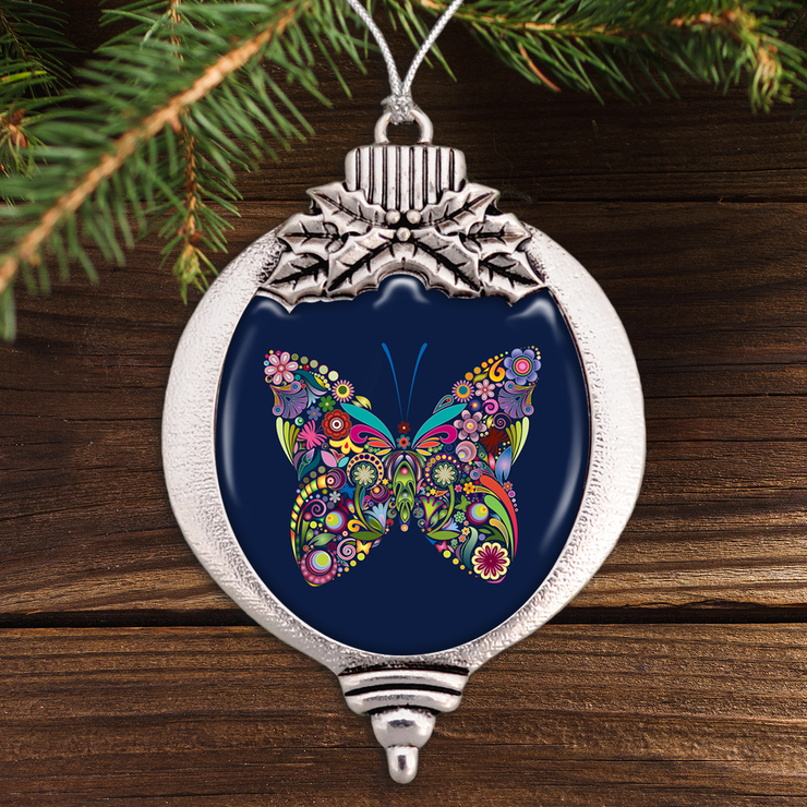 Butterfly Colorful Swirl Bulb Ornament