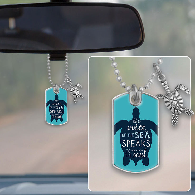 The Voice Of The Sea Turtle Dog Tag Rearview Mirror Charm
