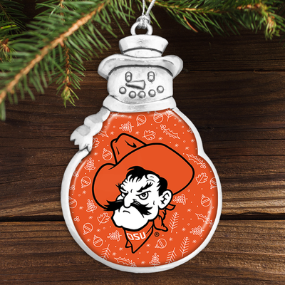 OKlahoma State Cowboys Holiday Snowman Ornament