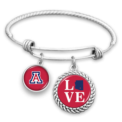 Arizona Wildcats Love Charm Bracelet