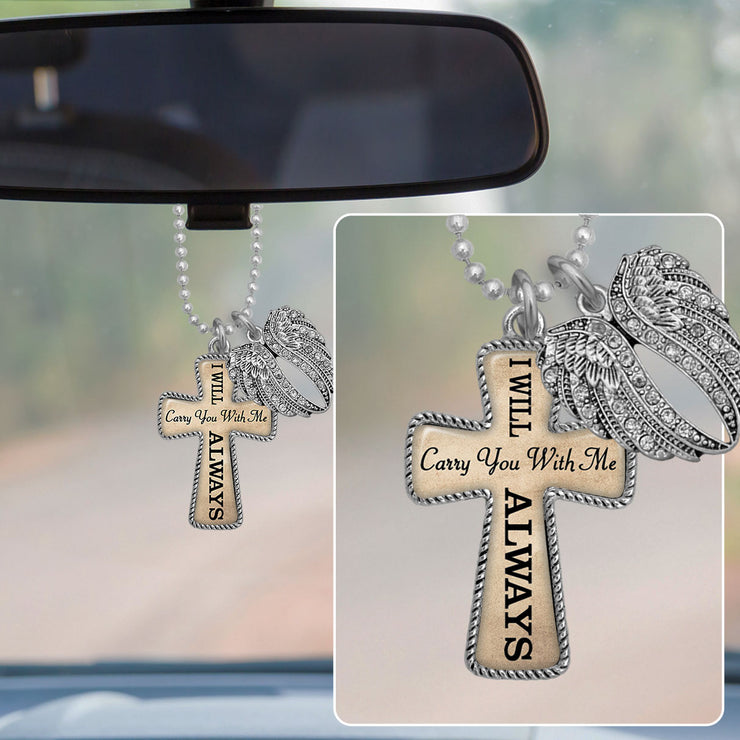 I Will Carry You With Me Always Angel Wings Cross Rearview Mirror Charm