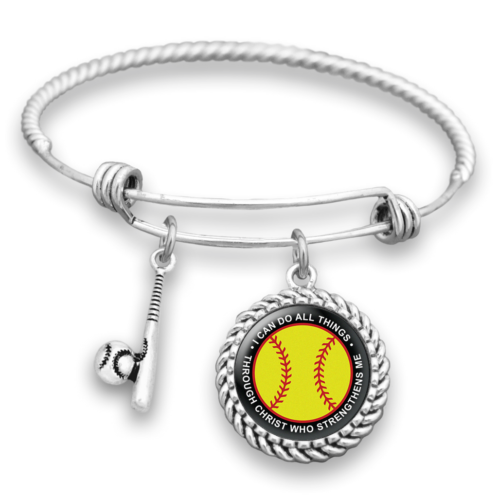 I Can Do All Things Through Christ Softball Charm Bracelet