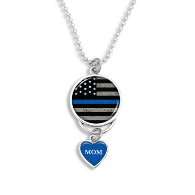 Customizable Thin Blue Line Flag Rearview Mirror Charm