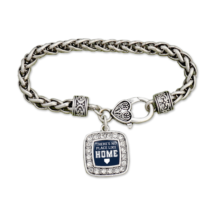 Baseball There's No Place Like Home Silver Braided Bracelet