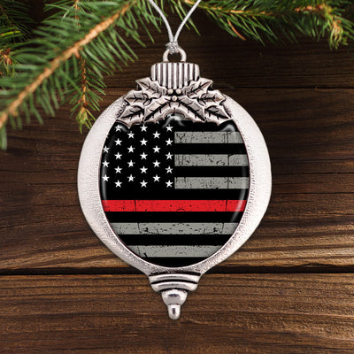 Thin Red Line Flag Bulb Ornament